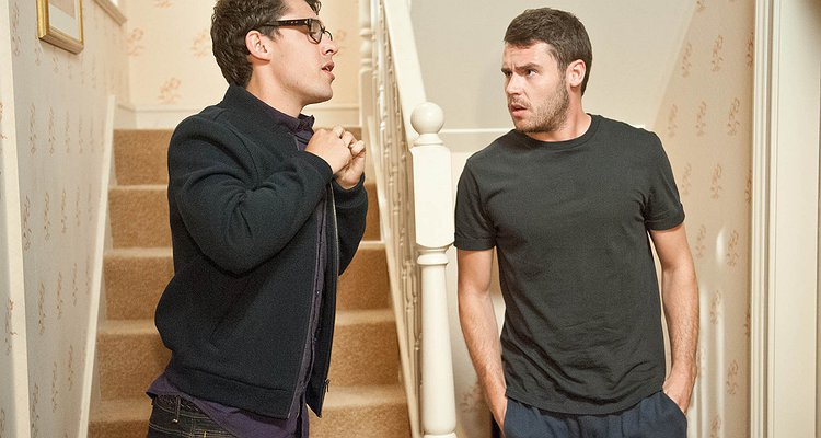 FROM ITV  STRICT EMBARGO -TV Listings Magazines Tuesday 9 September 2014, Newspapers and other media including ANY websites Saturday 13 September 2014  Emmerdale - Ep 6975  Thursday 18 September 2014 - 1st Ep  Aaron Livesy [DANNY MILLER] is hungover and seemingly regretful about his antics from the previous night as Finn Barton [JOE GILL] sneaks down the stairs. Finn tries to kiss Aaron but it's awkward. Will Aaron think it was a mistake?  Picture contact: david.crook@itv.com on 0161 952 6214  Photographer - Amy Brammall  This photograph is (C) ITV Plc and can only be reproduced for editorial purposes directly in connection with the programme or event mentioned above, or ITV plc. Once made available by ITV plc Picture Desk, this photograph can be reproduced once only up until the transmission [TX] date and no reproduction fee will be charged. Any subsequent usage may incur a fee. This photograph must not be manipulated [excluding basic cropping] in a manner which alters the visual appe