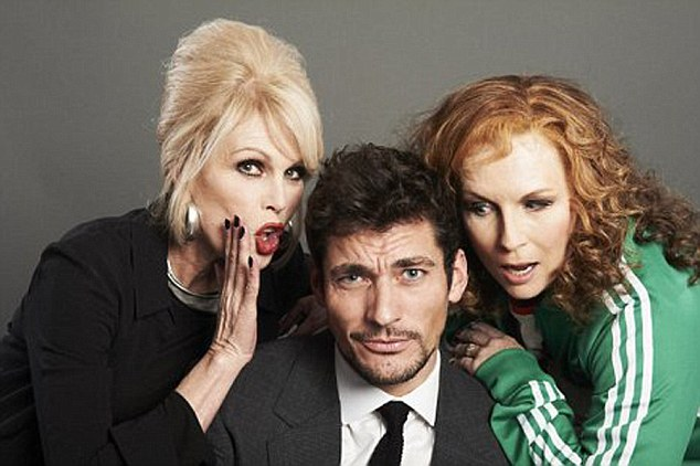 David Gandy with Absolutely Fabulous stars Joanna Lumley and Jennifer Saunders in Sports Relief 2012 Credit Sports Relief Image from internet - for Nikki