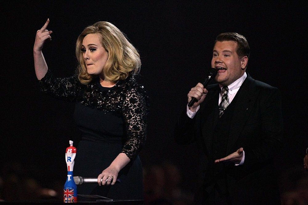 Adele collects her award for Album of the Year during the 2012 Brit awards at The O2 Arena, London.