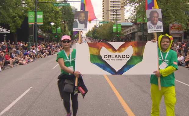 Tributes to Orlando at Vancouver's Pride march